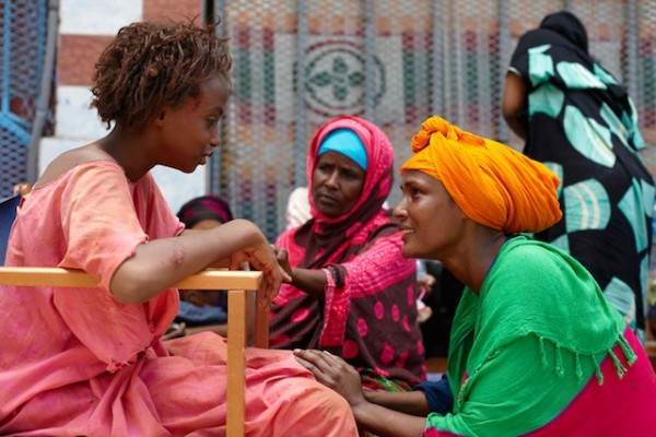 Waris at the Filmset in Djibouti with Soraja and her mother
