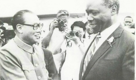 FORMER CHINESE PREMIER ZHAO ZIYANG WITH FORMER KENYAN PRESIDENT DANIEL ARAP MOI DURING A 11-NATION AFRICAN TOUR FROM DECEMBER 1982 TO JANUARY 1983.