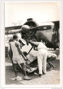Helping to fix a plane- Central African Republic, 1950