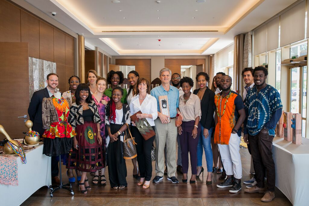 Jean and Steve with entrepreneurs in Accra Ghana Credit - Case Foundation