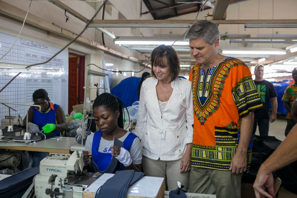 At DignityDTRT (Do the Right Thing) Apparel workshop, Accra Ghana
