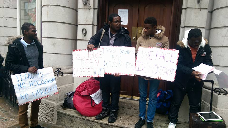 Rivers state students protesting in front of the Nigerian embassy