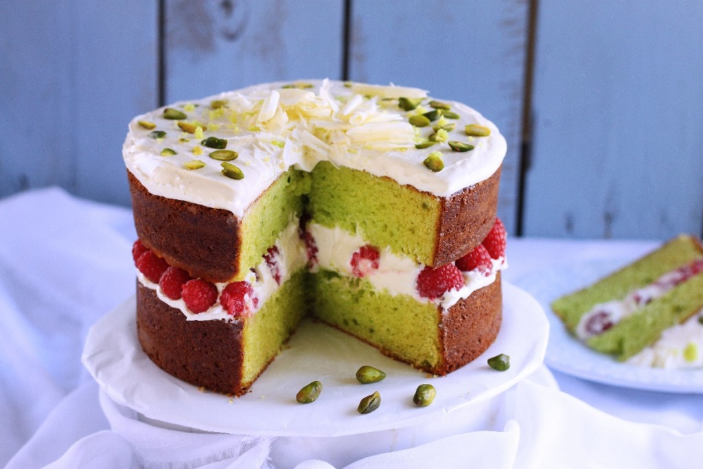 Eggless pistachio and raspberry buttermilk cake - K.O Rasoi.com
