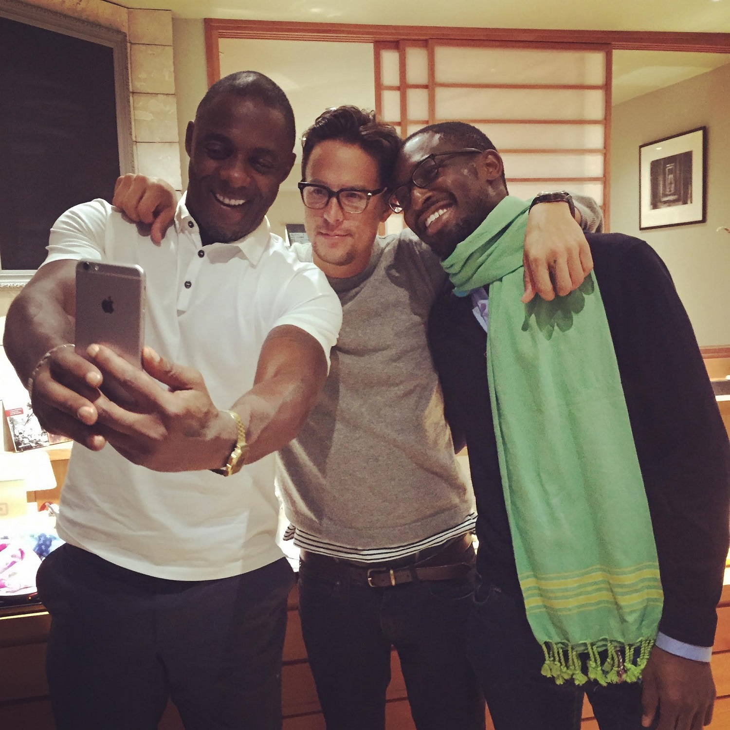 Uzodinma Iweala with Idris Elba and Cary Fukunaga