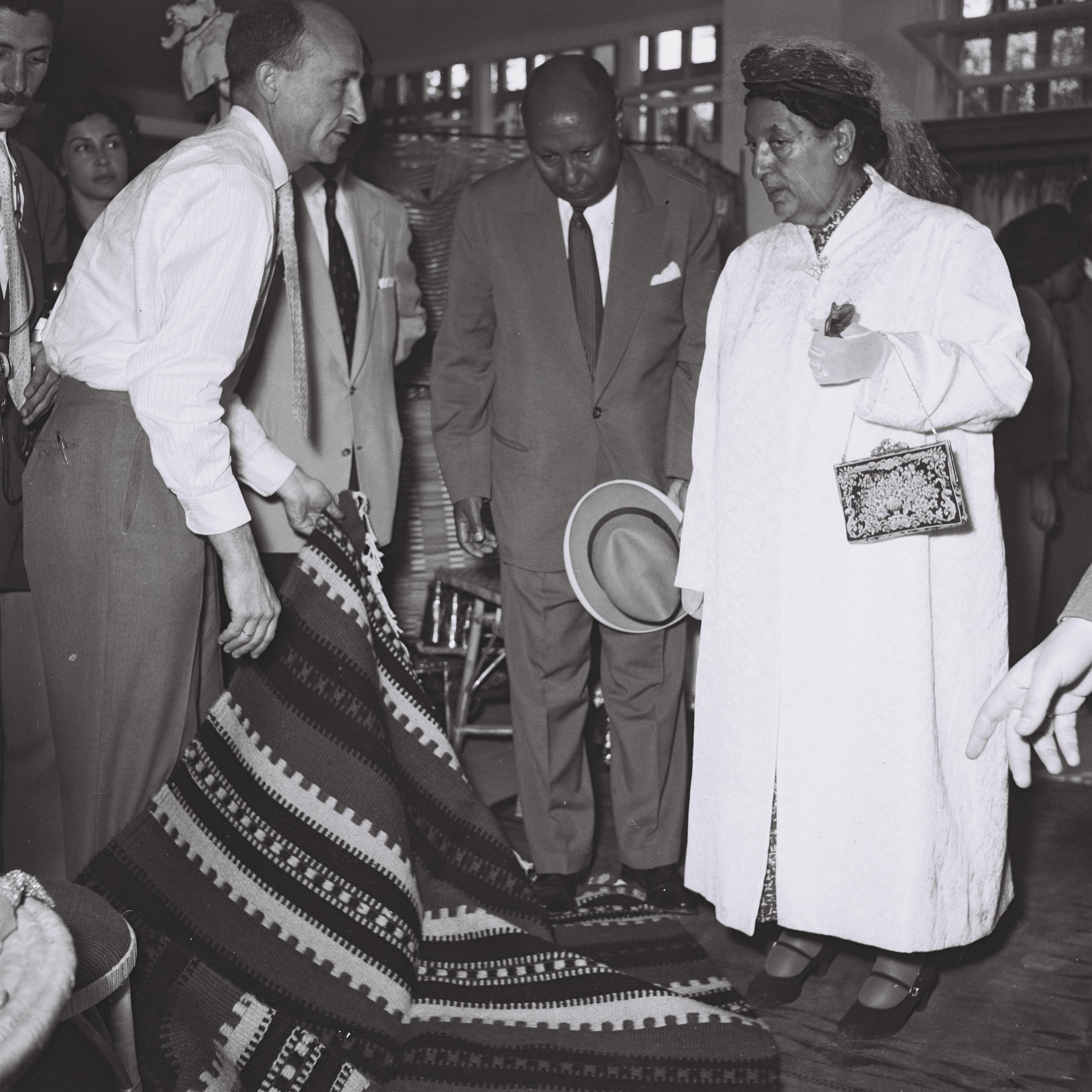 Empress Manon, the wife of Haile Selassie of Ethiopia, who came to Israel for a private visit at 'Maskit' Showroom in Tel Aviv.