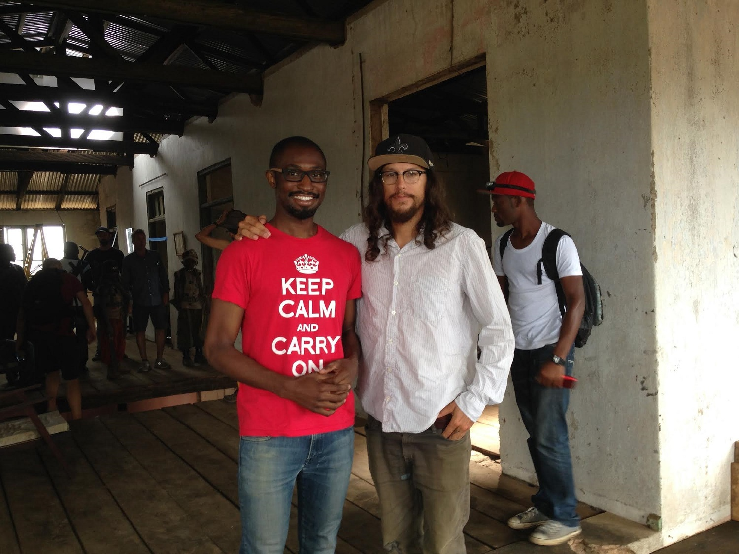 Iweala and Fukunaga on set for Beasts of No Nation