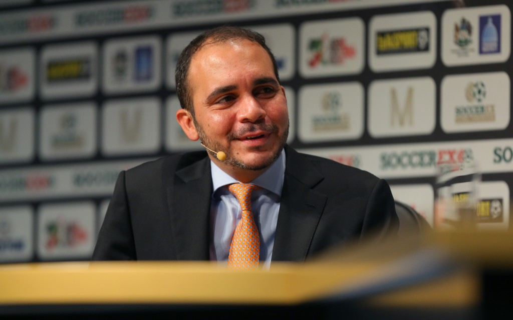 MANCHESTER, ENGLAND - SEPTEMBER 08: HRH Prince Ali Bin Al Hussein, FIFA Vice-President, is interviewed on stage at the Soccerex European Forum Conference Programme at Manchester Central on September 8, 2014 in Manchester, England.  (Photo by Dave Thompson/Getty Images)