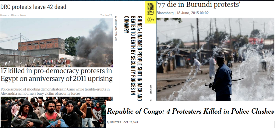 Headlines of casualties from protests