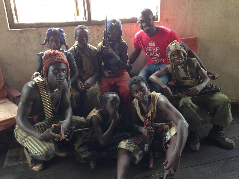 Uzodinma Iweala with cast of Beasts of No Nation