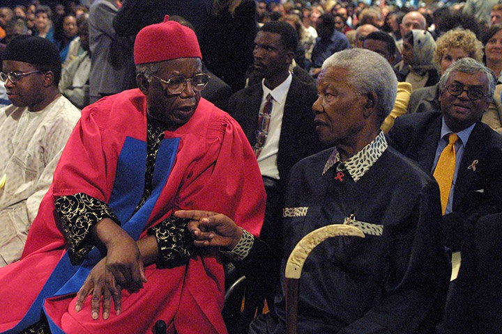 Achebe and Mandela at the University of Cape Town in 2002 Credit - Think Akwa Ibom