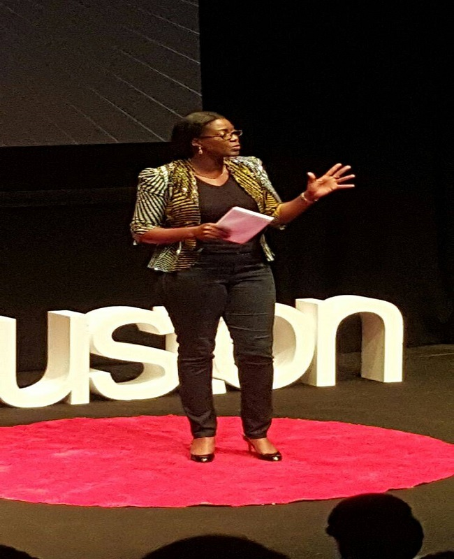 Monica Musonda speaking at TEDxEuston 2015 Credit - TEDxEuston Facebook