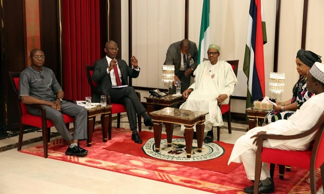 President Buhari with a team of four journalists during the media chat Credit - sturvs.com