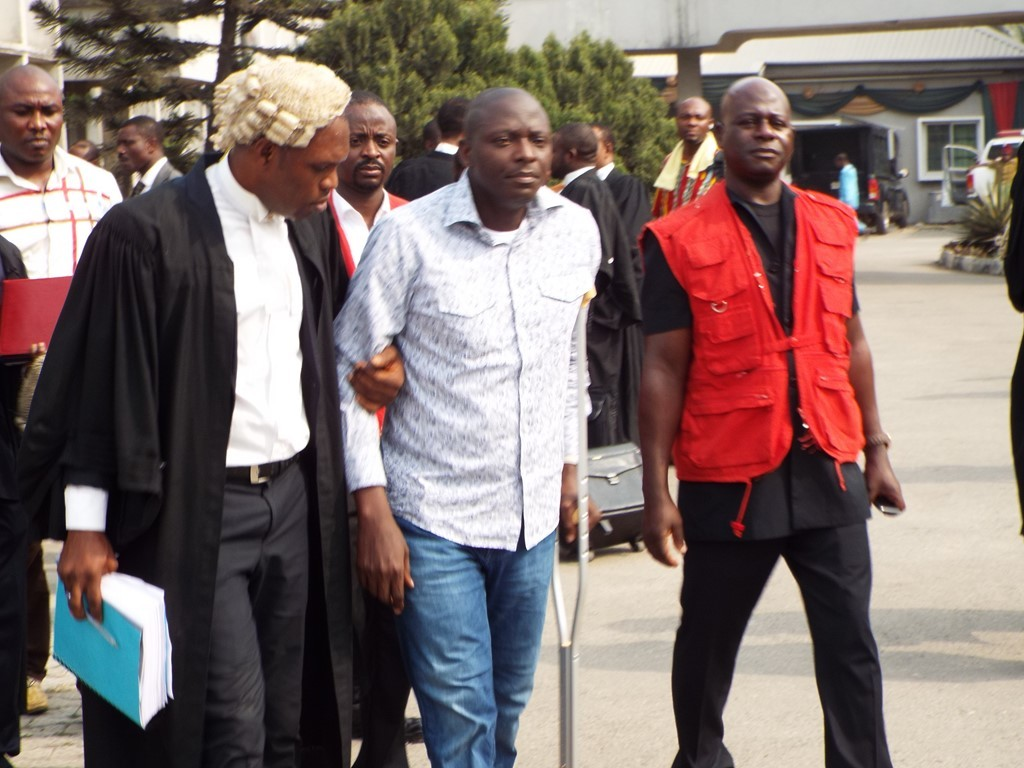 Former NIMASA boss arriving the Federal High Court in Lagos