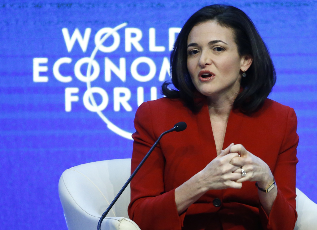 """COO of Facebook Sheryl Sandberg speaks during the session """"The Future of the Digital Economy"""" in the Swiss mountain resort of Davos January 22, 2015. More than 1,500 business leaders and 40 heads of state or government attend the Jan. 21-24 meeting of the World Economic Forum (WEF) to network and discuss big themes, from the price of oil to the future of the Internet. This year they are meeting in the midst of upheaval, with security forces on heightened alert after attacks in Paris, the European Central Bank considering a radical government bond-buying programme and the safe-haven Swiss franc rocketing. REUTERS/Ruben Sprich (SWITZERLAND - Tags: BUSINESS POLITICS) - RTR4MIF4"""