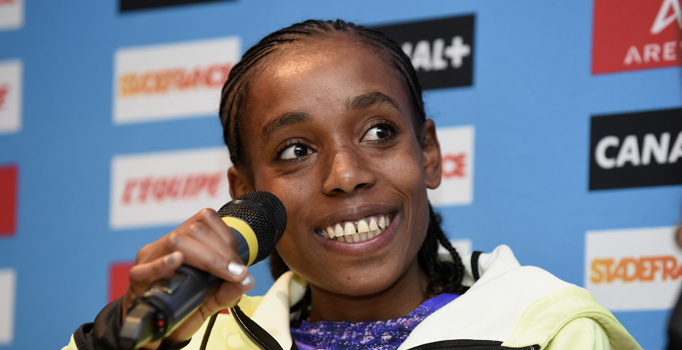 Almaz Ayana of Ethiopia answers questions during the Press Conference of the Diamond league, Meeting Areva 2015, at Mercure Paris Centre Eiffel, Paris, France, on July 3, 2015 - Photo Jean-Marie Hervio / KMSP / DPPI