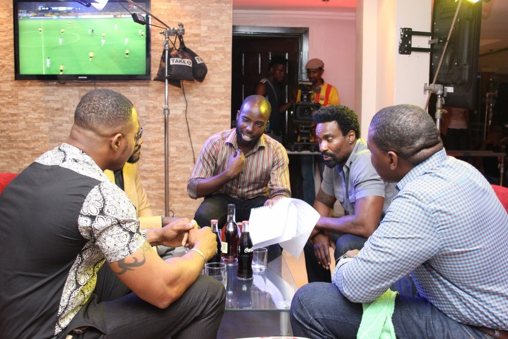 Ishaya Bako and Oris Erhuero on Set
