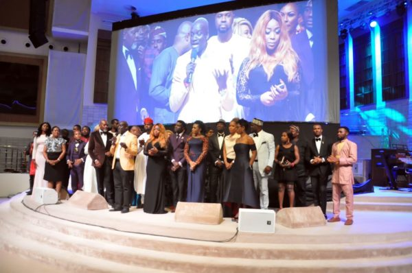 The cast and crew of 93 Days at the movie premiere, The Rock Cathedral, Lagos.