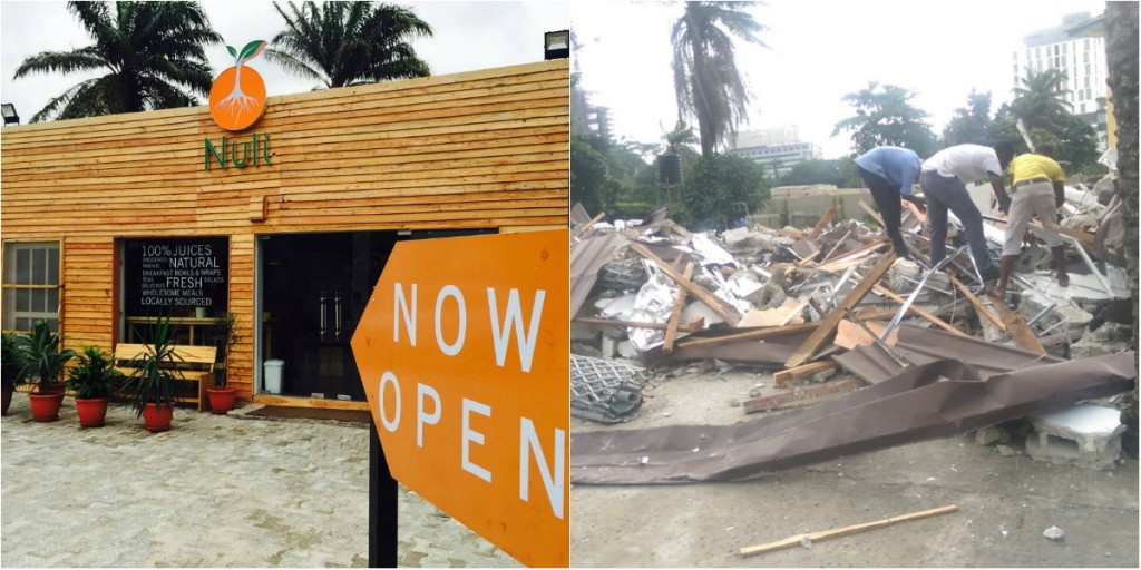 Nuli Juice before and after the demolition.
