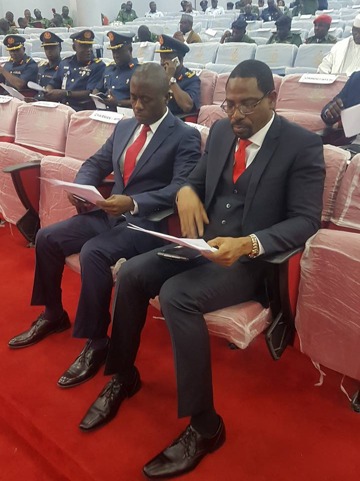 eTranzact Founder & CEO, Valentine Obi and the ED,Business development Sullivan Akala at the Ministerial press briefing for the 2017 Armed Forces Rememberance day