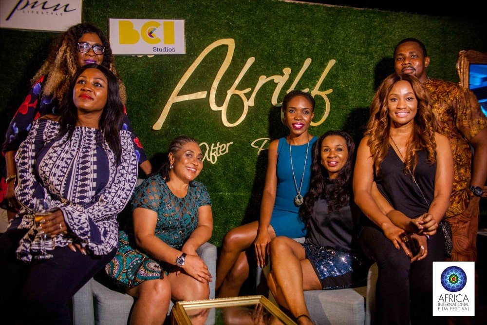 AFRIFF Founder, Chioma Ude, Hilda Dokubo, and other guests at an AFRIFF after party.