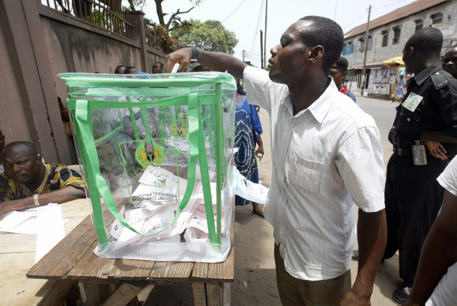 An electorate casting his vote