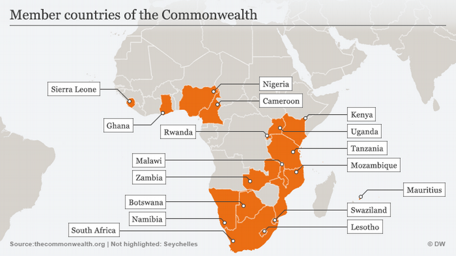 Commonwealth nations in Africa Credit: DW