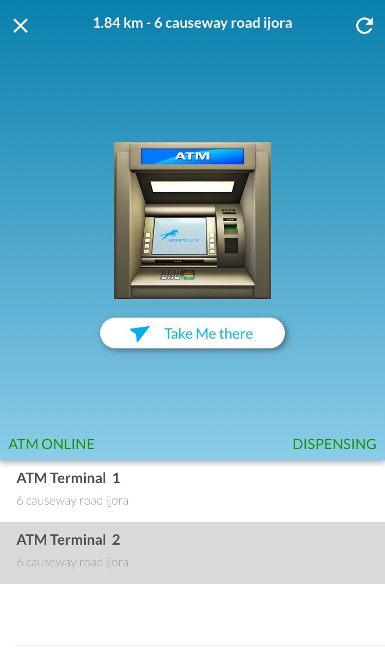 Union Bank mobile app's Locate an ATM feature