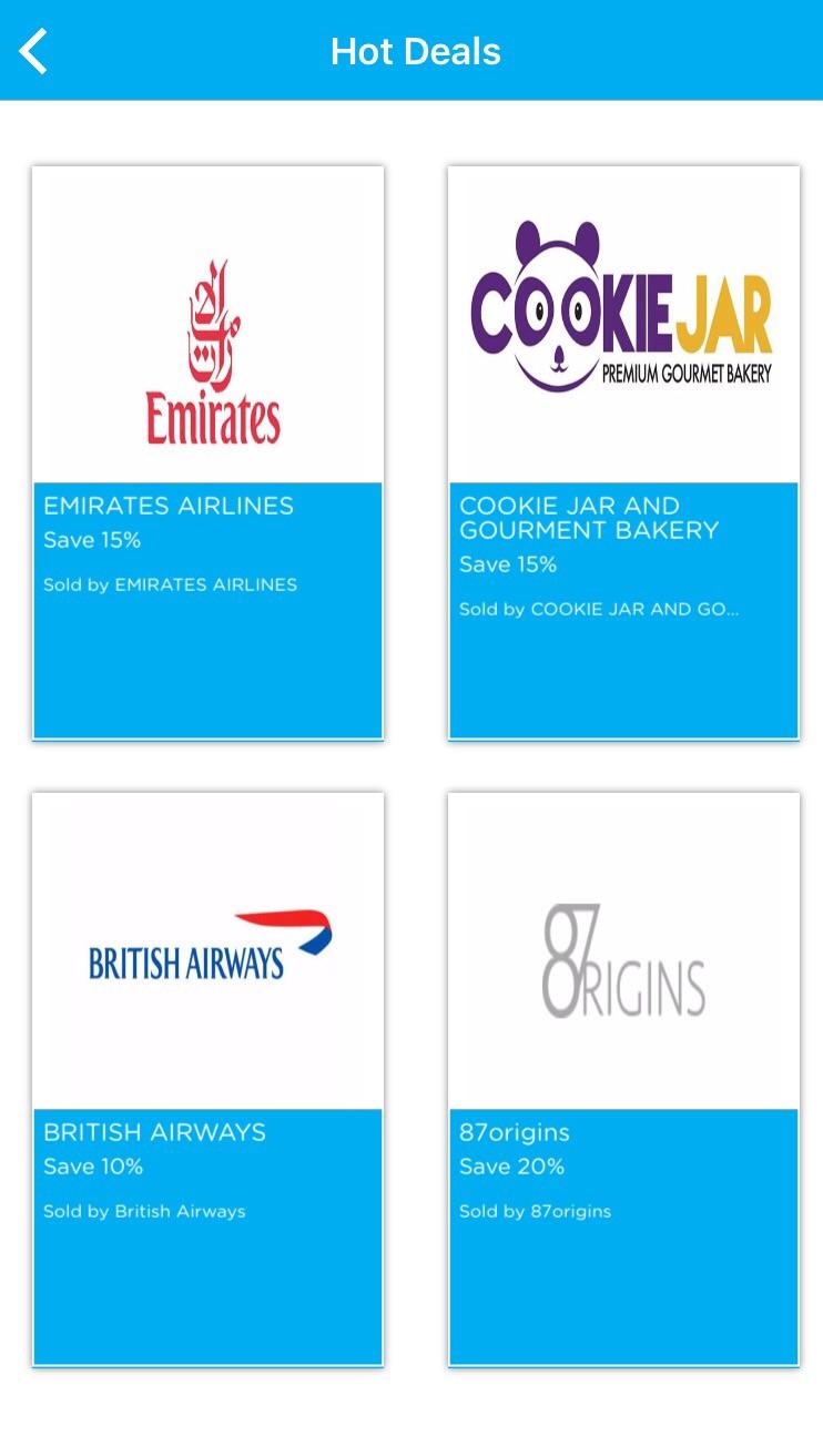 Union Bank mobile app's Hot Deals feature