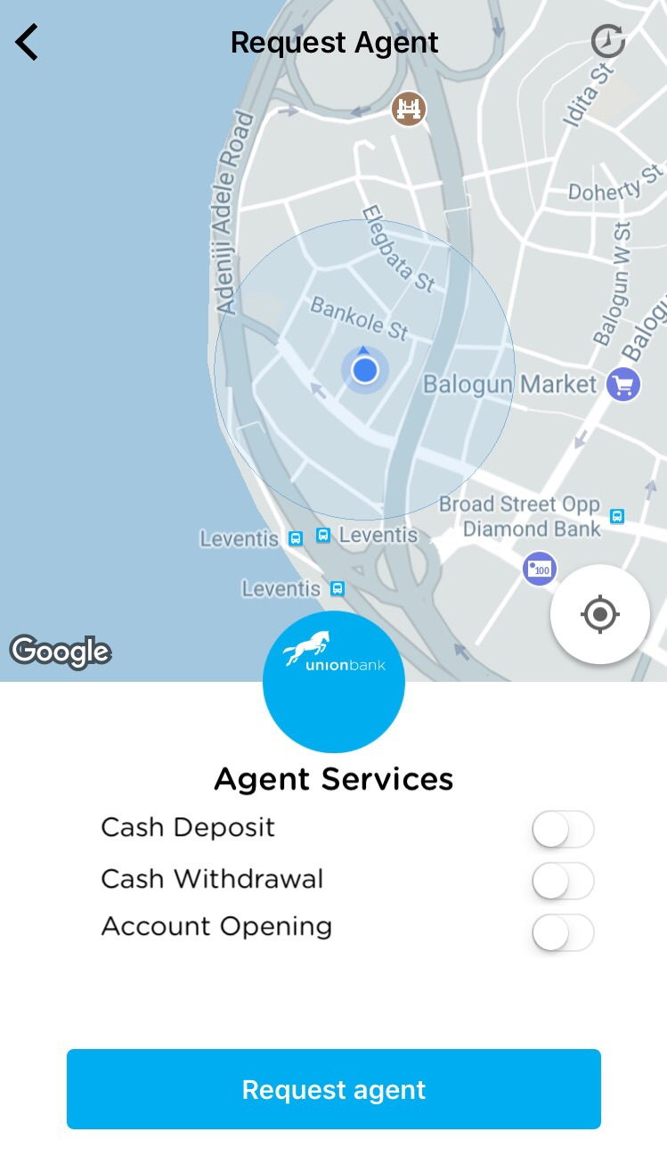 Union Bank mobile app's Request Agent feature