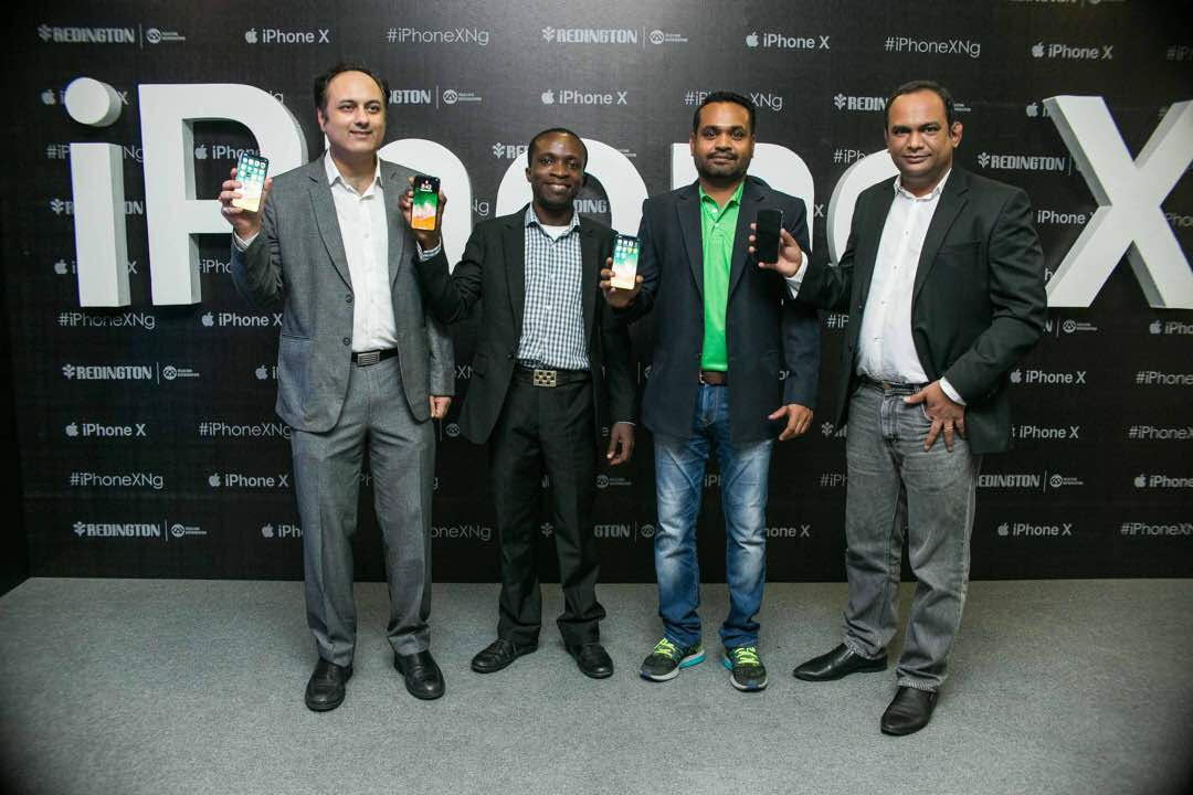 L-R: Manu Sanon, Head of Product, Redington Nigeria; Odeyale Oloyede, Product Specialist- Redington Africa Region; Sujeendra Prasad, Head of Sales Redington; Sivadoss Vijayakumar, Head West Africa Operations Redington at the launch of iPhone X in Nigeria